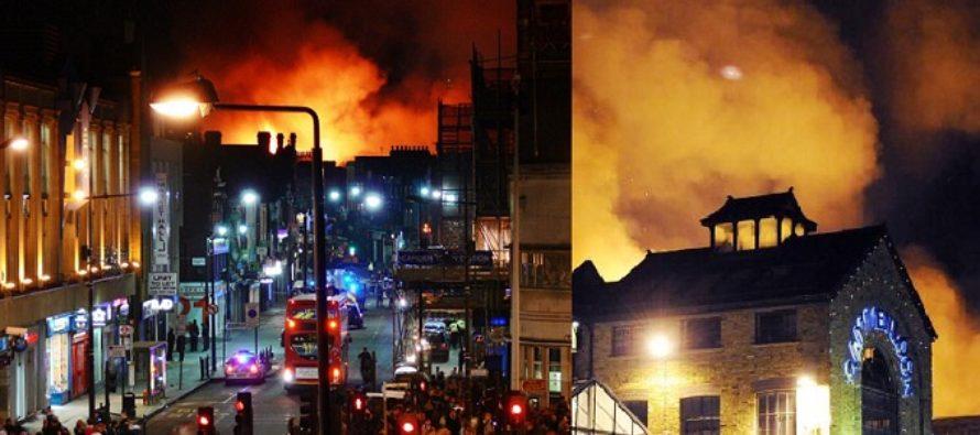Incendiu la Londra. Camden Lock Market arde din temelii, zeci de pompieri lupta cu flacarile – UPDATE