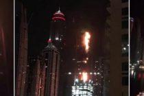 DUBAI TORCH TOWER FIRE. The Torch Tower in Dubai Marina is on fire again! 82 floors!