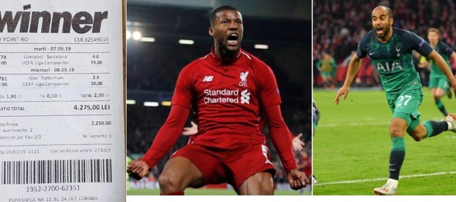 FC Liverpool si Tottenham au uimit lumea fotbalului, un parior roman a uimit cu biletul pus pe victoria celor doua formatii britanice
